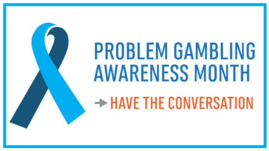 "A blue ribbon with the words, ""Problem Gambling Awareness Month. Have the Conversation."""