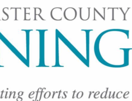 "Logo for Lancaster County Joining Forces logo states ""Coordinating efforts to reduce deaths due to opioids"" in purple and turquoise"
