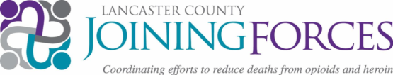 """Logo for Lancaster County Joining Forces logo states """"Coordinating efforts to reduce deaths due to opioids"""" in purple and turquoise"""