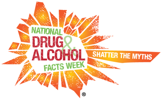 "Logo is a bright orange sunburst with ""National Drug & alcohol Facts Week"" in red and green in the shatter. The tagline is ""Shatter the Myths."""