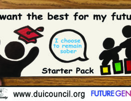 "A figure with a mortarboard and two other figures outline the words, ""I want the best for my future. I choose to remain sober."""