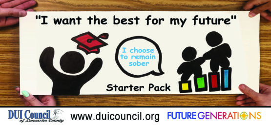 """A figure with a mortarboard and two other figures outline the words, """"I want the best for my future. I choose to remain sober."""""""