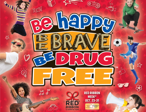 "Brightly colored red and blue and gold image shows kids doing fun things and ""Be Happy. Be Brave. Be Drug Free."""