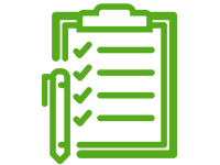 Icon of a clipboard with pen and checklist
